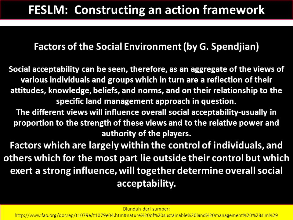 Factors of the Social Environment (by G. Spendjian) Social acceptability can be seen, therefore, as an aggregate of the views of various individuals a