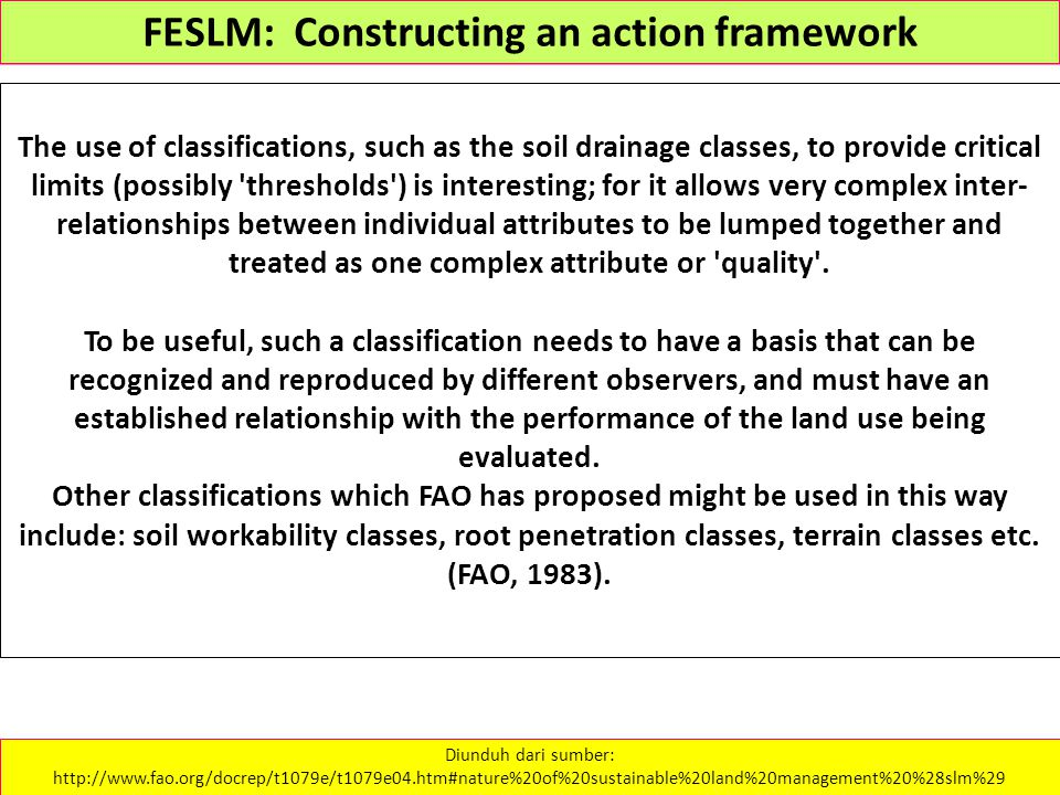 The use of classifications, such as the soil drainage classes, to provide critical limits (possibly 'thresholds') is interesting; for it allows very c