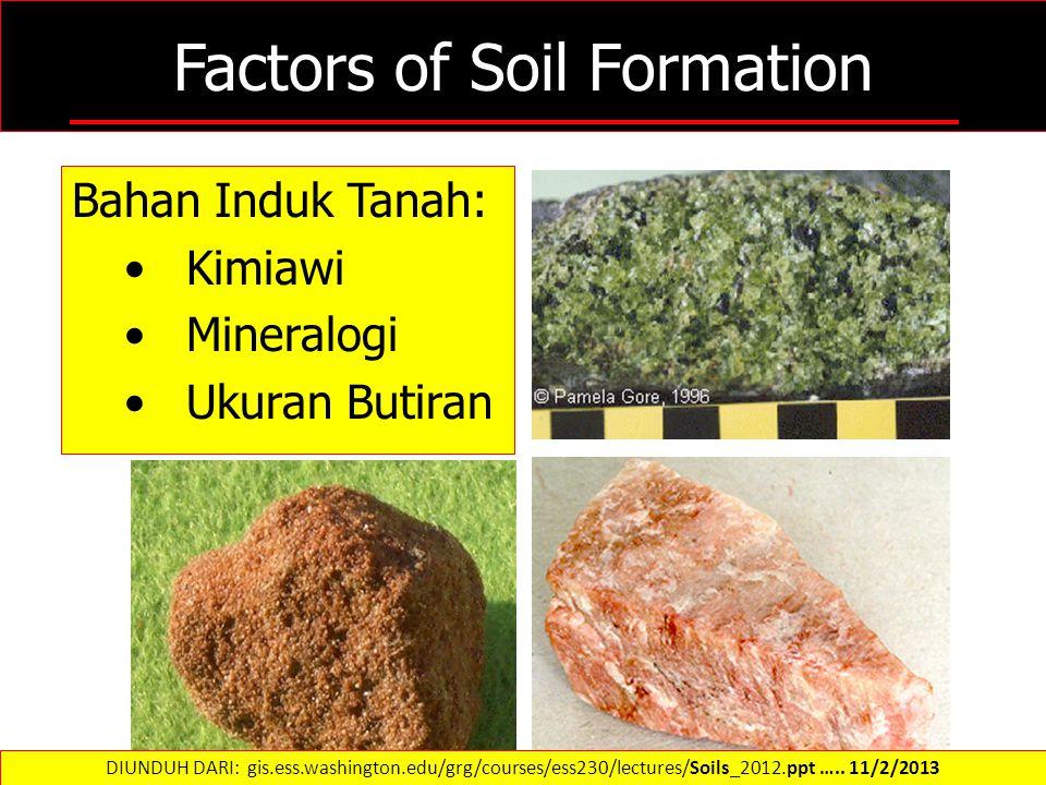 Factors of Soil Formation Bahan Induk Tanah: Kimiawi Mineralogi Ukuran Butiran DIUNDUH DARI: gis.ess.washington.edu/grg/courses/ess230/lectures/Soils_