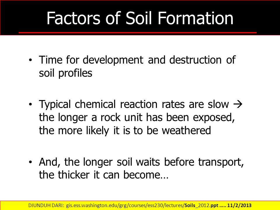 Factors of Soil Formation Time for development and destruction of soil profiles Typical chemical reaction rates are slow  the longer a rock unit has been exposed, the more likely it is to be weathered And, the longer soil waits before transport, the thicker it can become… DIUNDUH DARI: gis.ess.washington.edu/grg/courses/ess230/lectures/Soils_2012.ppt …..