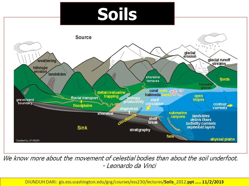 Soils We know more about the movement of celestial bodies than about the soil underfoot. - Leonardo da Vinci DIUNDUH DARI: gis.ess.washington.edu/grg/