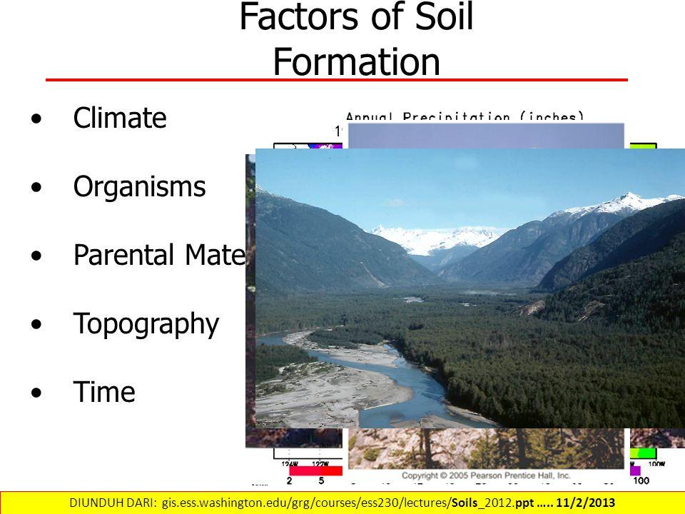 Factors of Soil Formation Climate Organisms Parental Material Topography Time DIUNDUH DARI: gis.ess.washington.edu/grg/courses/ess230/lectures/Soils_2