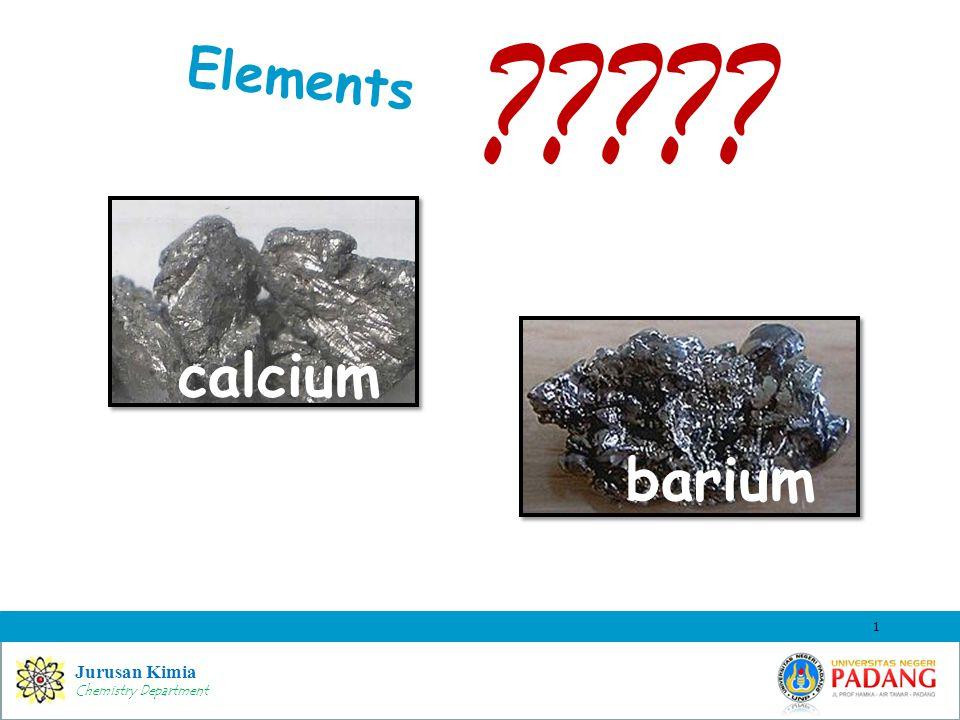 Jurusan Kimia Chemistry Department Elements 1 ????? calcium barium