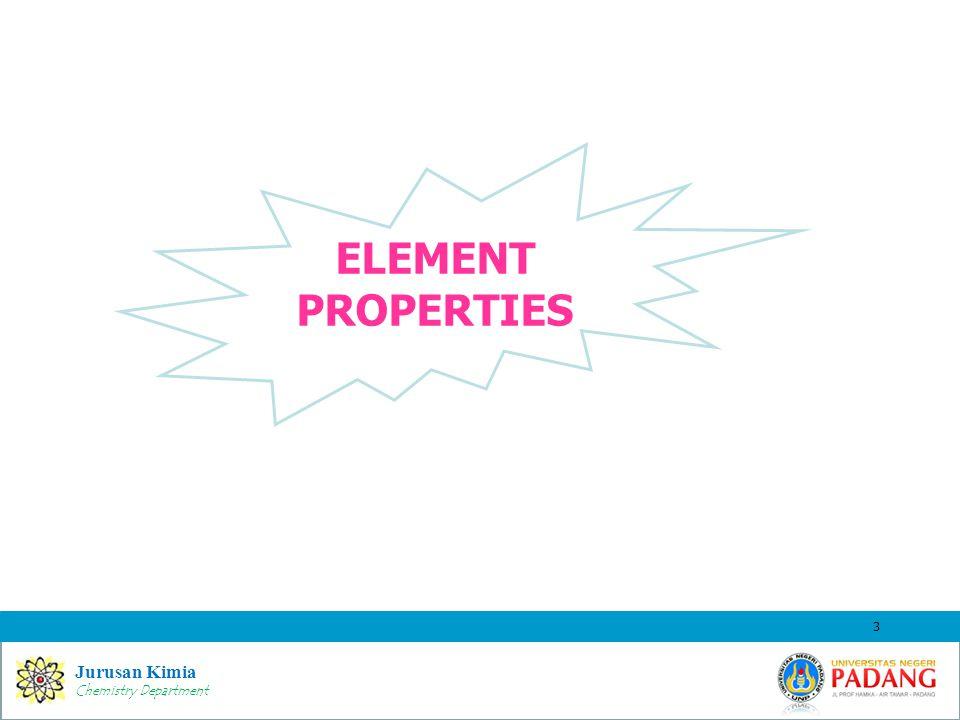 Jurusan Kimia Chemistry Department ELEMENT PROPERTIES 3