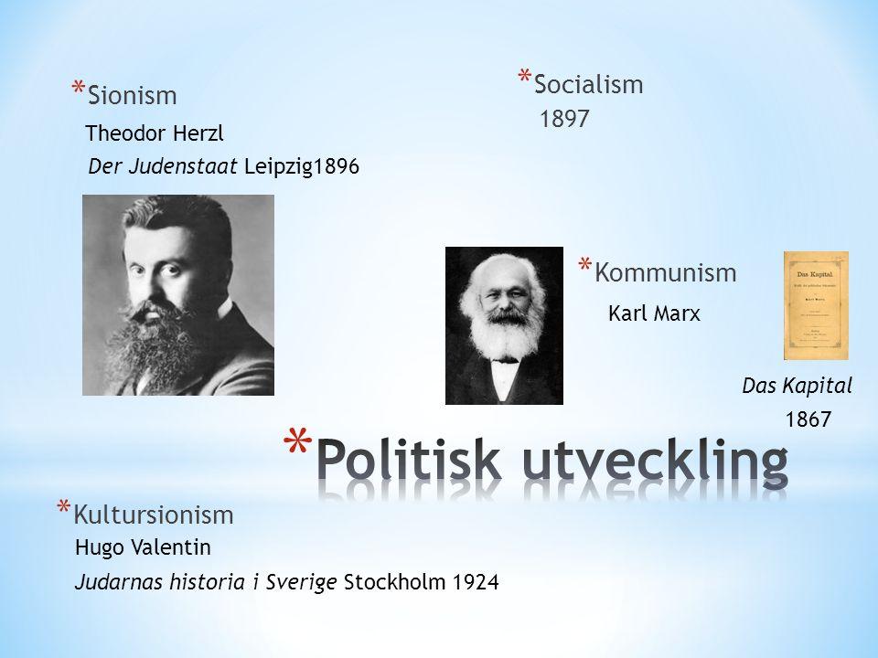 * Sionism * Socialism 1897 Theodor Herzl Der Judenstaat Leipzig1896 * Kommunism Karl Marx Das Kapital 1867 Hugo Valentin * Kultursionism Judarnas historia i Sverige Stockholm 1924