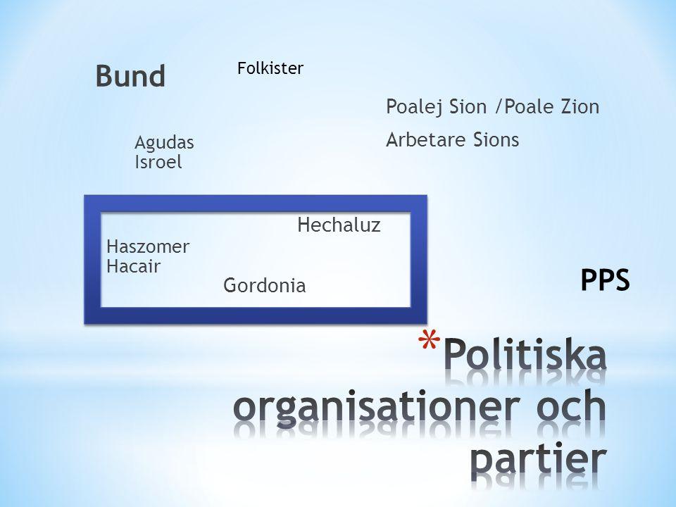 Bund Poalej Sion /Poale Zion Arbetare Sions Haszomer Hacair Hechaluz Gordonia Agudas Isroel PPS Folkister