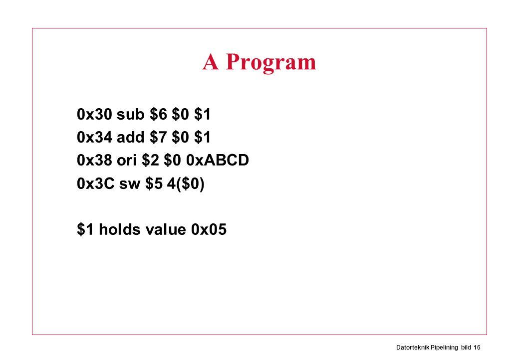 Datorteknik Pipelining bild 16 A Program 0x30 sub $6 $0 $1 0x34 add $7 $0 $1 0x38 ori $2 $0 0xABCD 0x3C sw $5 4($0) $1 holds value 0x05
