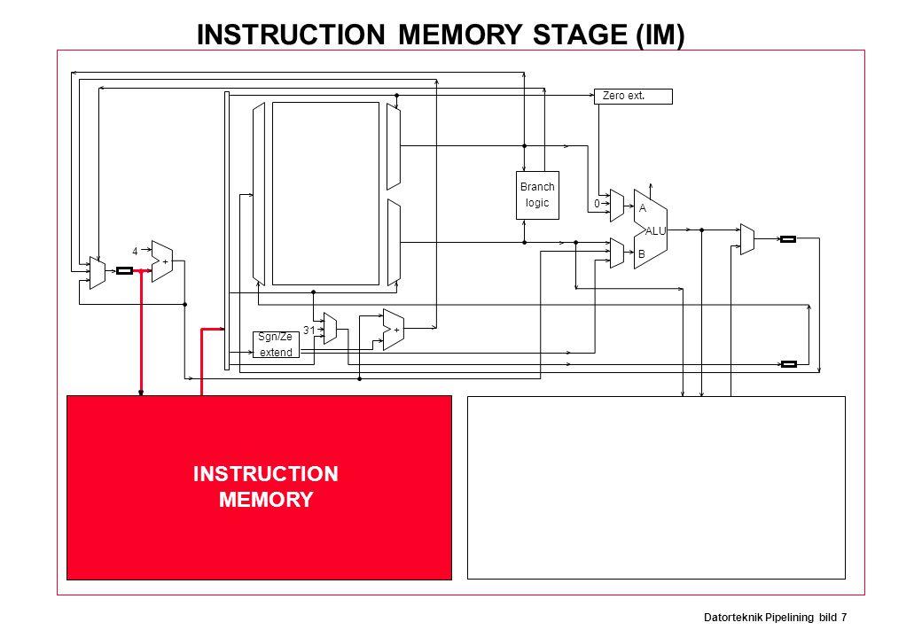 Datorteknik Pipelining bild 7 Branch logic Sgn/Ze extend Zero ext. ALU A B 31 0 4 + + INSTRUCTION MEMORY INSTRUCTION MEMORY STAGE (IM)