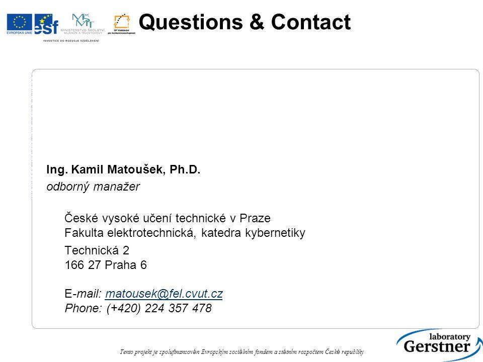 Knowledge Representation using Ontology Tento projekt je spolufinancov á n Evropským soci á ln í m fondem a st á tn í m rozpočtem Česk é republiky Questions & Contact Ing.