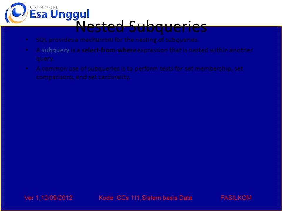 Ver 1,12/09/2012Kode :CCs 111,Sistem basis DataFASILKOM Nested Subqueries SQL provides a mechanism for the nesting of subqueries.