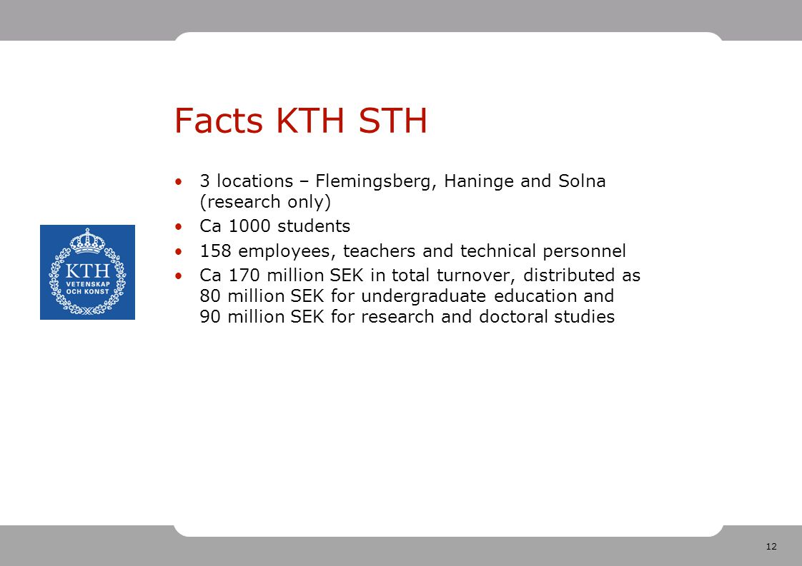 12 Facts KTH STH 3 locations – Flemingsberg, Haninge and Solna (research only) Ca 1000 students 158 employees, teachers and technical personnel Ca 170 million SEK in total turnover, distributed as 80 million SEK for undergraduate education and 90 million SEK for research and doctoral studies