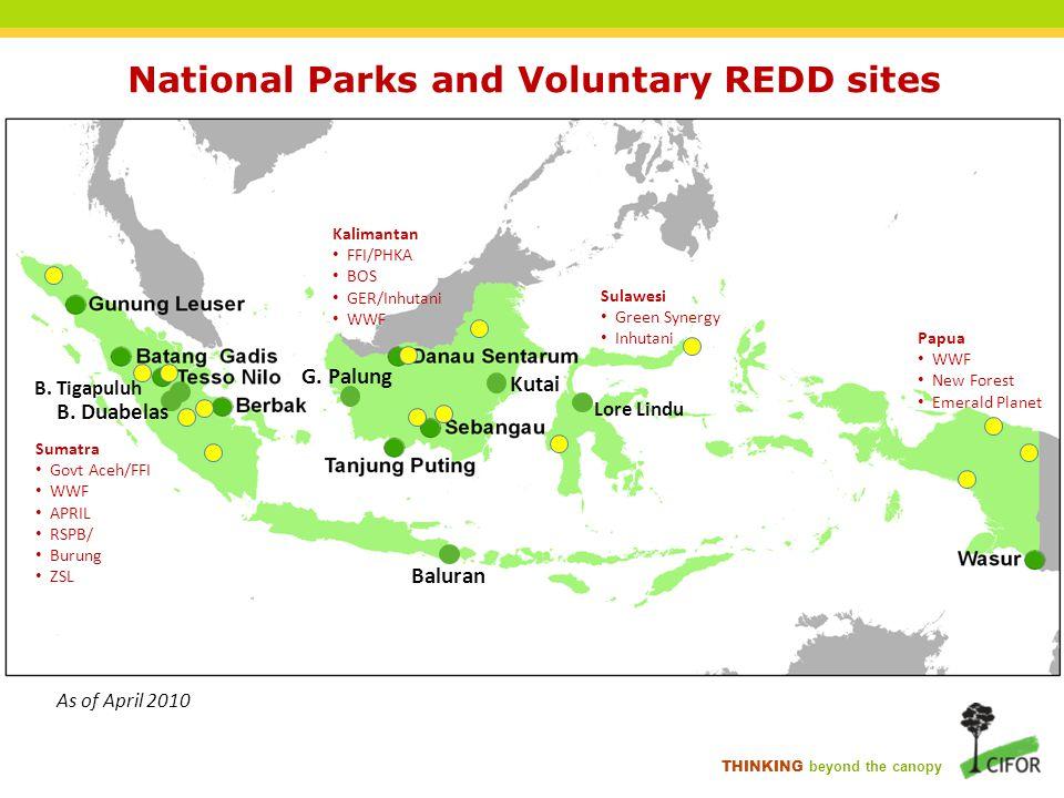 THINKING beyond the canopy National Parks and Voluntary REDD sites B. Tigapuluh B. Duabelas G. Palung Kutai Baluran Sumatra Govt Aceh/FFI WWF APRIL RS