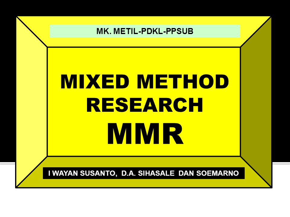  MMDA berarti:  Quantitising qualitative data  Qualitising quantitative data  Sumber: Richard Watson Todd (http://arts.kmutt.ac.th/crs/research/mmda.ppt) Monodata-multianalysis —this is the analysis of one type of data using both qualitative and quantitative anslysis.
