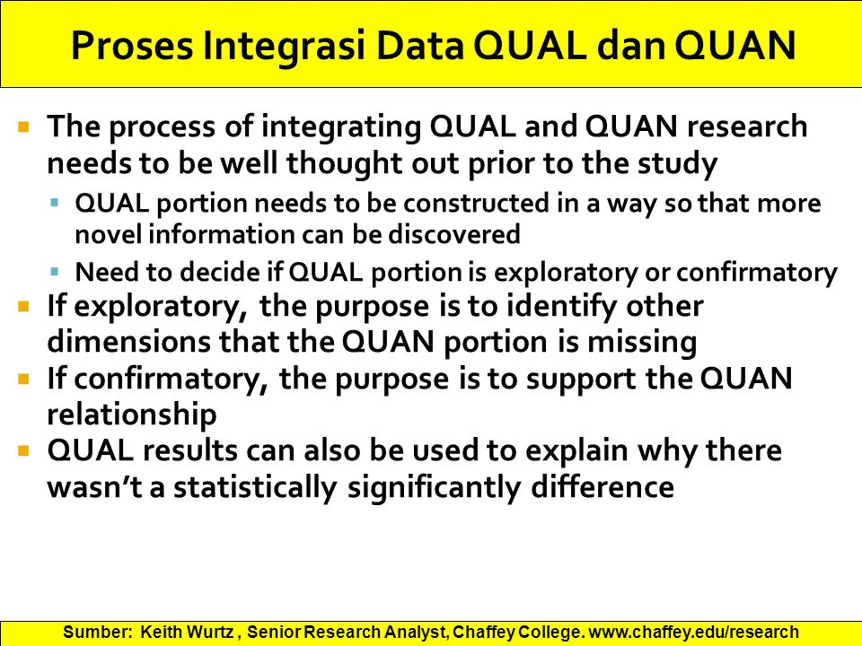  The process of integrating QUAL and QUAN research needs to be well thought out prior to the study  QUAL portion needs to be constructed in a way so that more novel information can be discovered  Need to decide if QUAL portion is exploratory or confirmatory  If exploratory, the purpose is to identify other dimensions that the QUAN portion is missing  If confirmatory, the purpose is to support the QUAN relationship  QUAL results can also be used to explain why there wasn't a statistically significantly difference Sumber: Keith Wurtz, Senior Research Analyst, Chaffey College.
