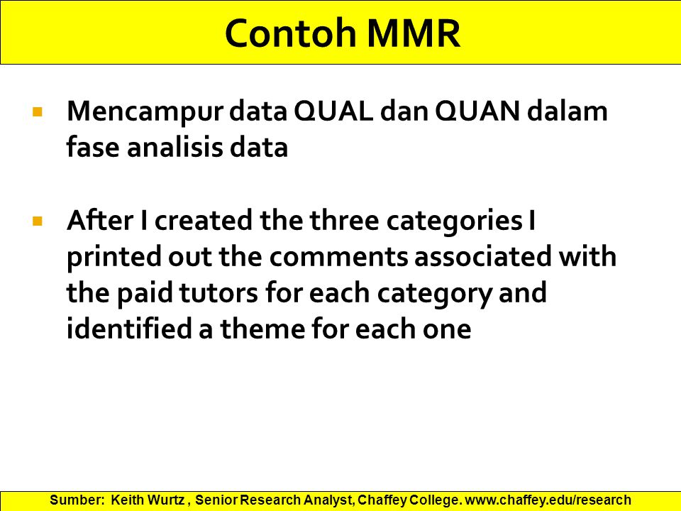  Mencampur data QUAL dan QUAN dalam fase analisis data  After I created the three categories I printed out the comments associated with the paid tutors for each category and identified a theme for each one Sumber: Keith Wurtz, Senior Research Analyst, Chaffey College.