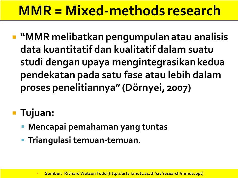  MMR melibatkan pengumpulan atau analisis data kuantitatif dan kualitatif dalam suatu studi dengan upaya mengintegrasikan kedua pendekatan pada satu fase atau lebih dalam proses penelitiannya (Dörnyei, 2007)  Tujuan:  Mencapai pemahaman yang tuntas  Triangulasi temuan-temuan.