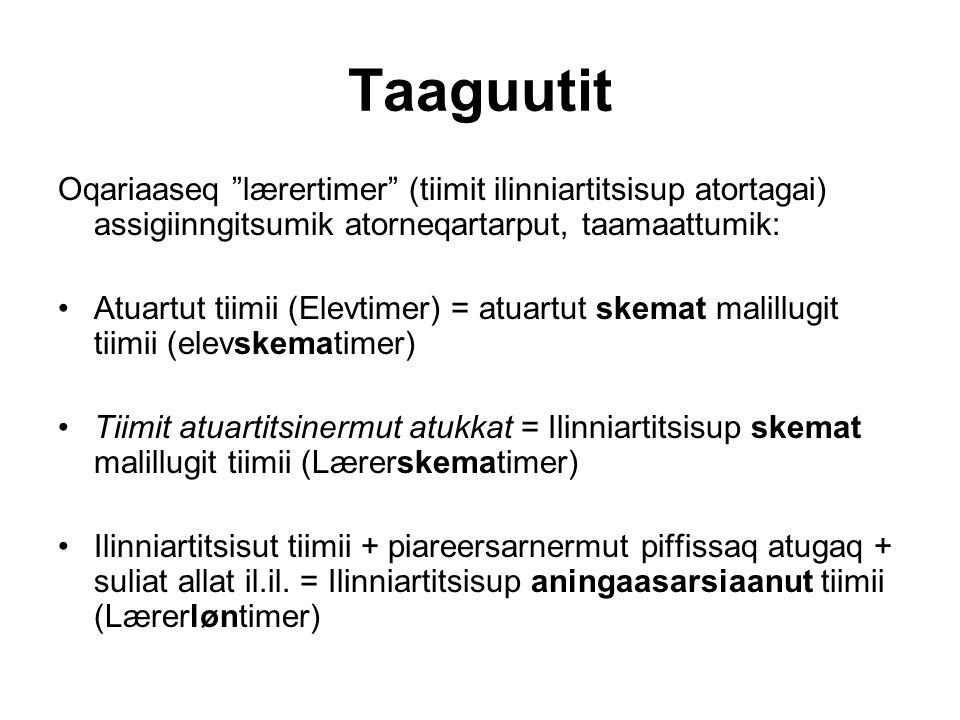"Taaguutit Oqariaaseq ""lærertimer"" (tiimit ilinniartitsisup atortagai) assigiinngitsumik atorneqartarput, taamaattumik: Atuartut tiimii (Elevtimer) = a"