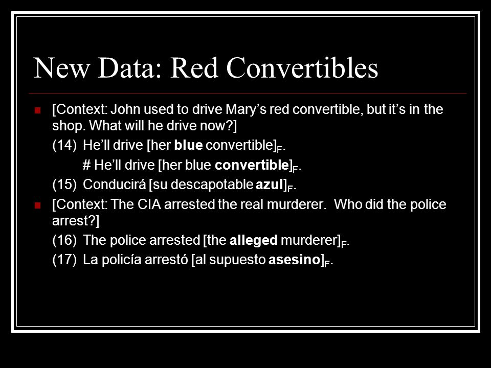 New Data: Red Convertibles [Context: John used to drive Mary's red convertible, but it's in the shop. What will he drive now?] (14) He'll drive [her b