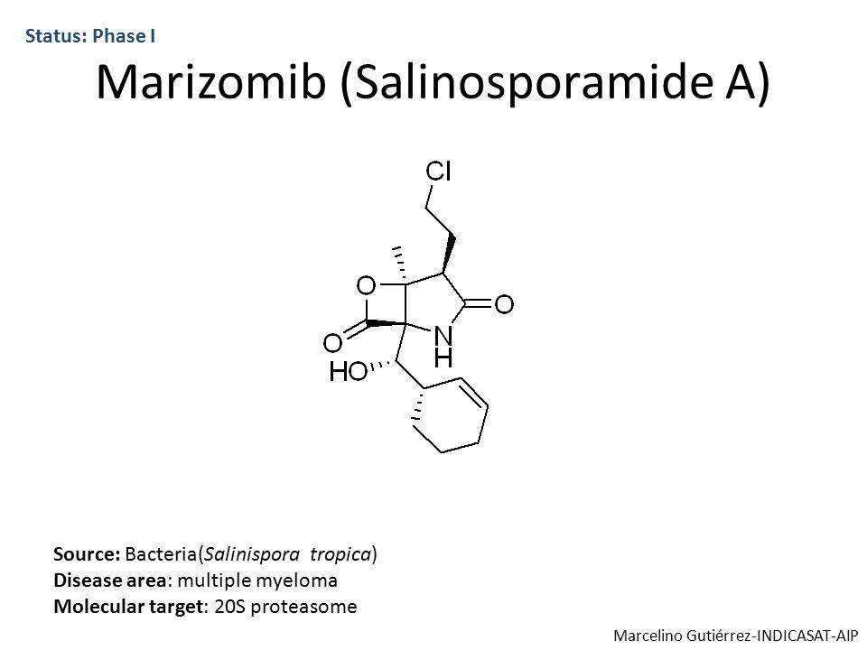 Marizomib (Salinosporamide A) Status: Phase I Source: Bacteria(Salinispora tropica) Disease area: multiple myeloma Molecular target: 20S proteasome Marcelino Gutiérrez-INDICASAT-AIP