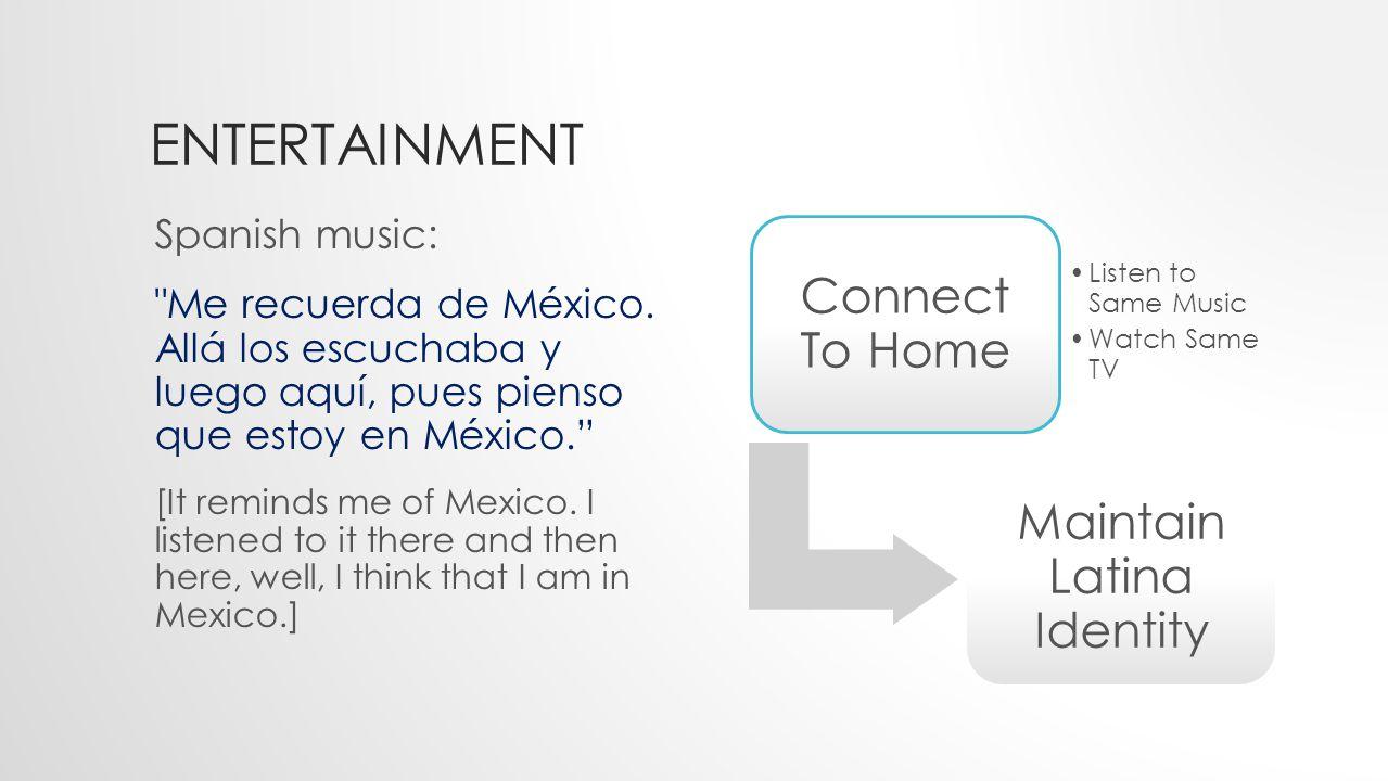 ENTERTAINMENT Spanish music: Me recuerda de México.