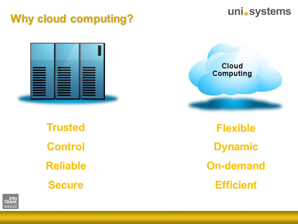 Flexible Dynamic On-demand Efficient Cloud Computing Trusted Control Reliable Secure Why cloud computing