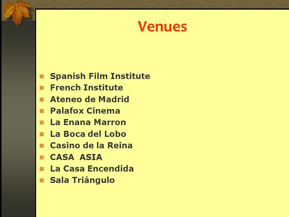 Venues Spanish Film Institute French Institute Ateneo de Madrid Palafox Cinema La Enana Marron La Boca del Lobo Casino de la Reina CASA ASIA La Casa Encendida Sala Triángulo