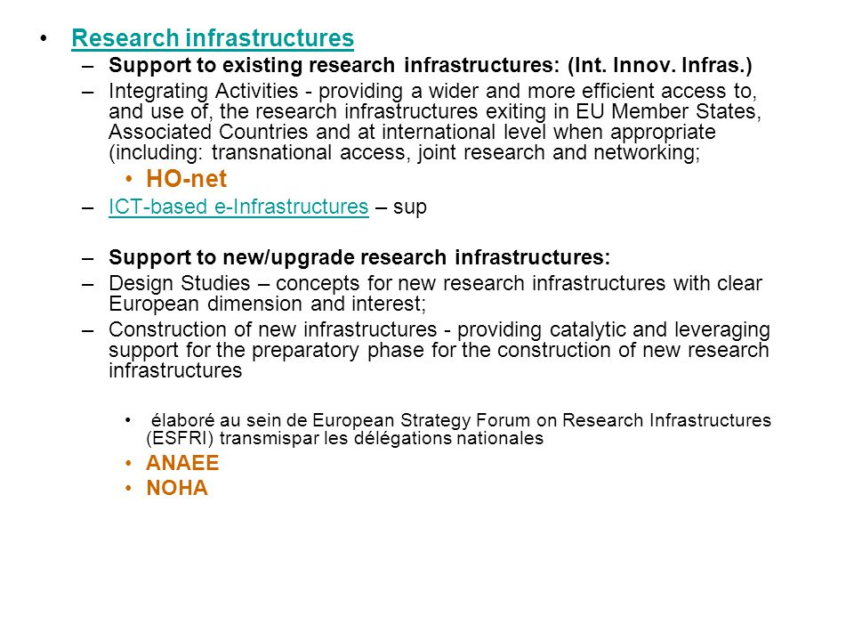 Research infrastructures –Support to existing research infrastructures: (Int.