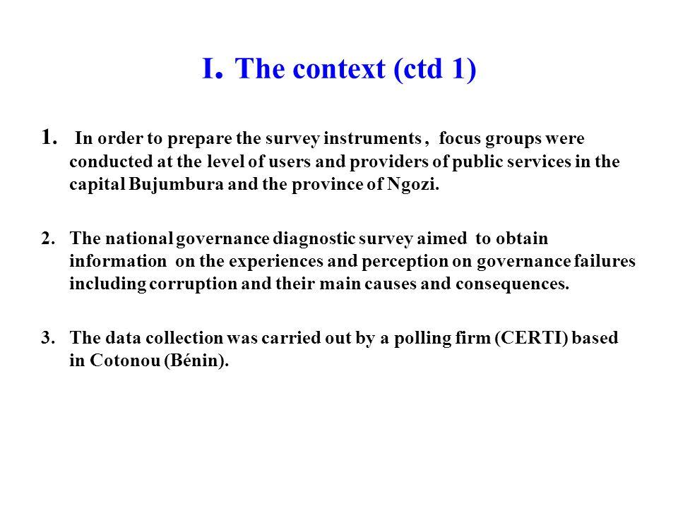 I. The context (ctd 1) 1.