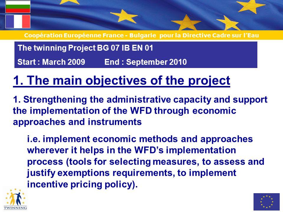 Coopération Européenne France - Bulgarie pour la Directive Cadre sur l'Eau 1.The main objectives of the project 2.