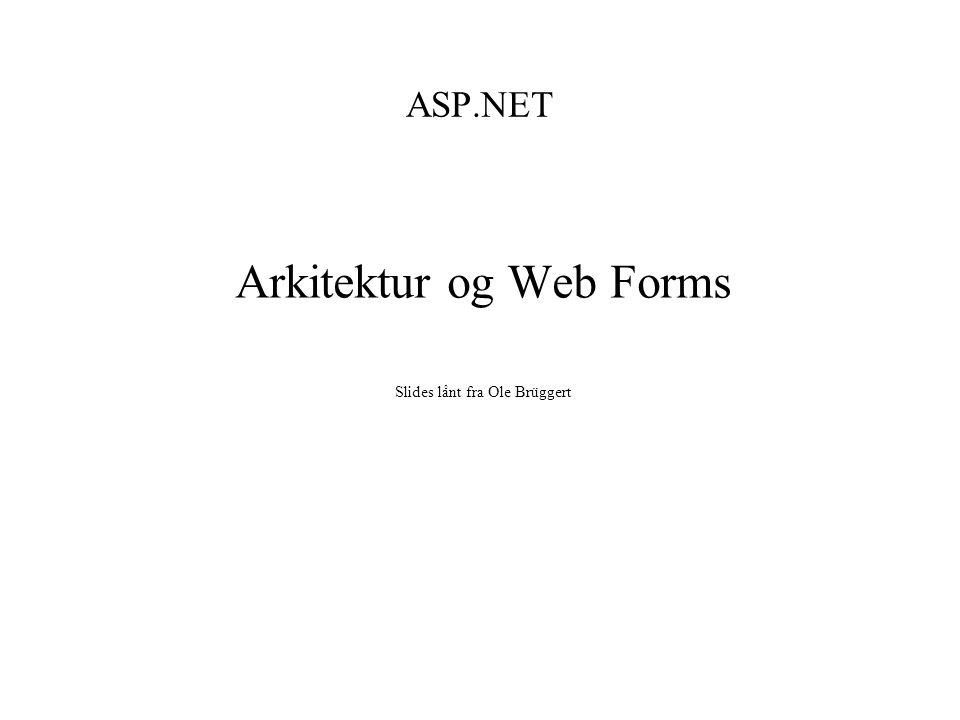 ASP.NET Arkitektur og Web Forms Slides lånt fra Ole Brüggert