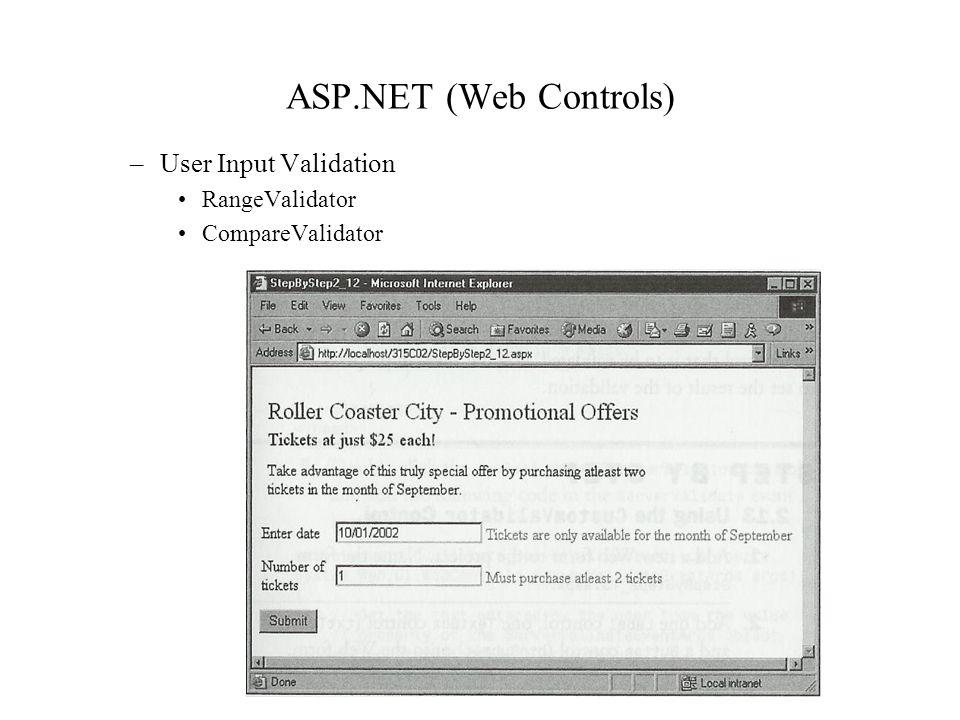ASP.NET (Web Controls) –User Input Validation RangeValidator CompareValidator