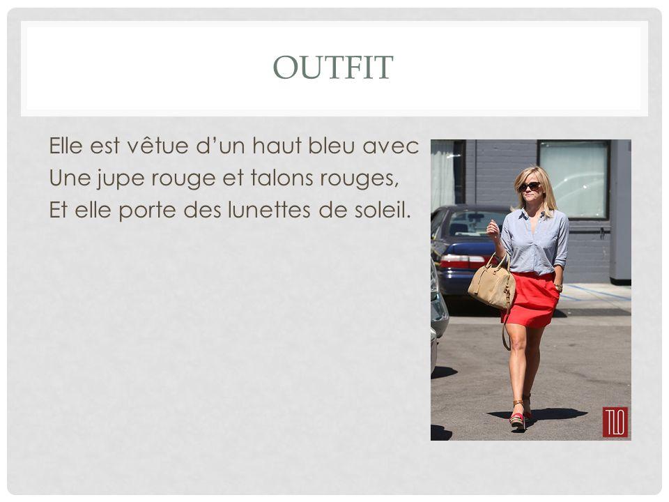 OUTFIT Elle est vêtue d'un haut bleu avec Une jupe rouge et talons rouges, Et elle porte des lunettes de soleil.