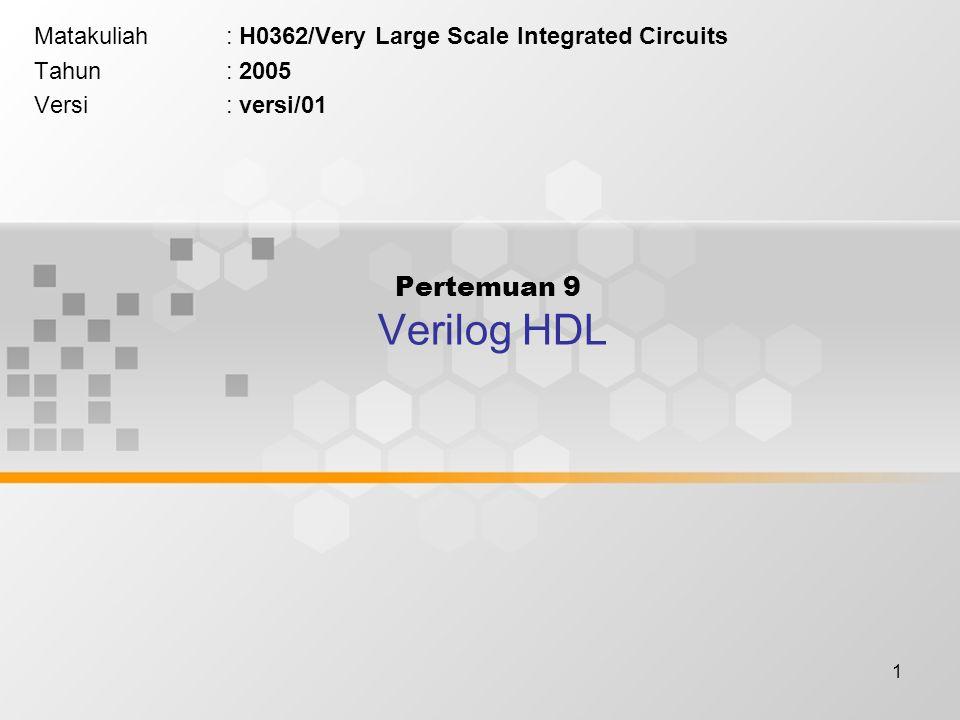 1 Pertemuan 9 Verilog HDL Matakuliah: H0362/Very Large Scale Integrated Circuits Tahun: 2005 Versi: versi/01