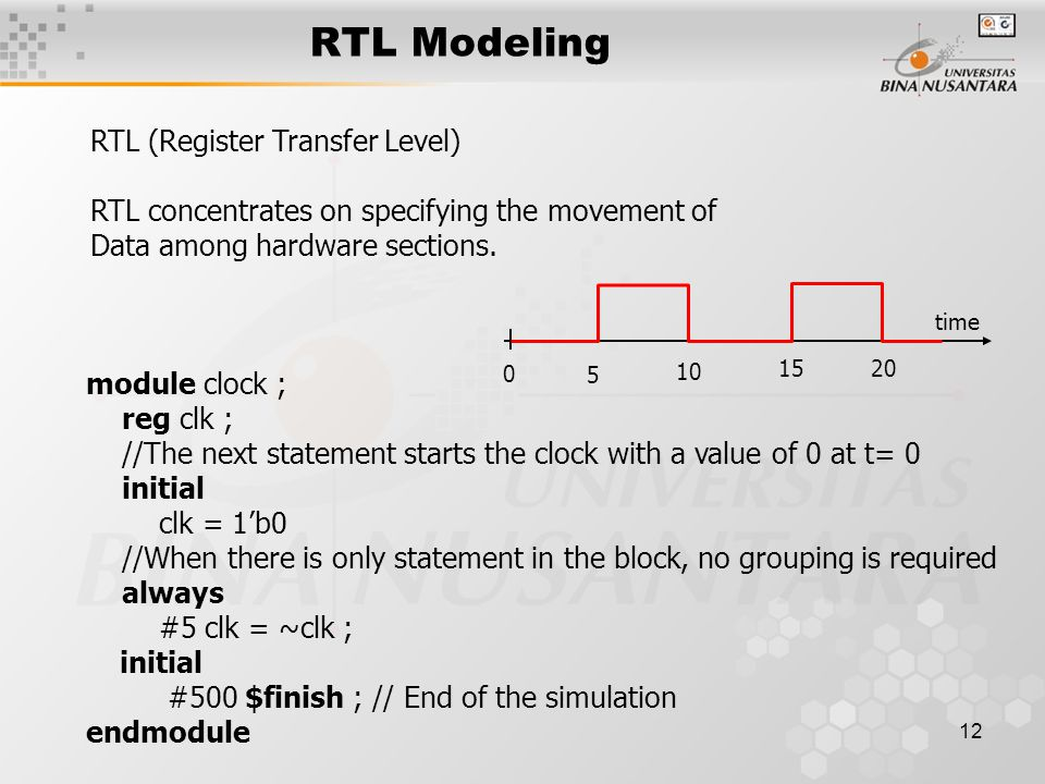 12 RTL Modeling RTL (Register Transfer Level) RTL concentrates on specifying the movement of Data among hardware sections.