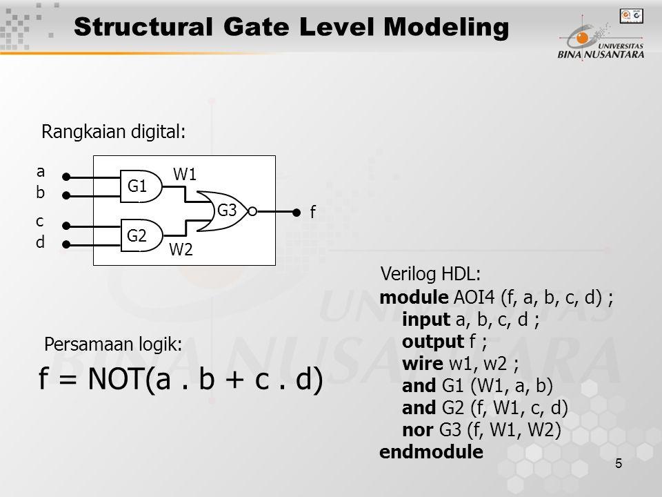 5 Structural Gate Level Modeling f a b c d G1 G2 G3 W1 W2 Rangkaian digital: module AOI4 (f, a, b, c, d) ; input a, b, c, d ; output f ; wire w1, w2 ; and G1 (W1, a, b) and G2 (f, W1, c, d) nor G3 (f, W1, W2) endmodule Verilog HDL: f = NOT(a.