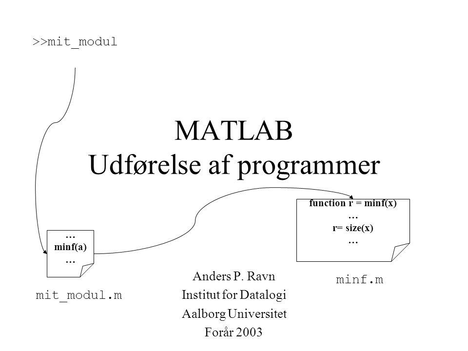 MATLAB Udførelse af programmer Anders P.