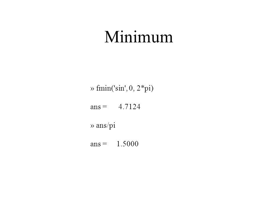 Minimum » fmin( sin , 0, 2*pi) ans = 4.7124 » ans/pi ans = 1.5000