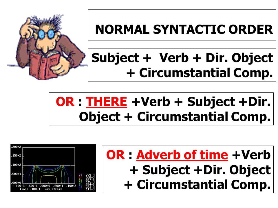 NORMAL SYNTACTIC ORDER Subject + Verb + Dir. Object + Circumstantial Comp. OR : THERE +Verb + Subject +Dir. Object + Circumstantial Comp. OR : Adverb