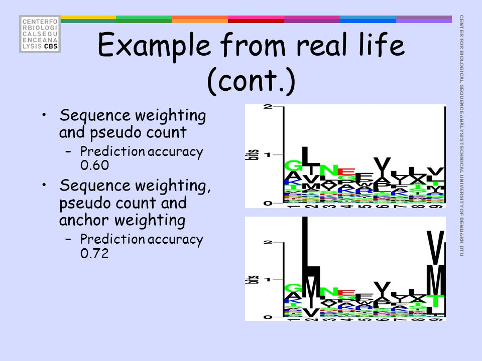 CENTER FOR BIOLOGICAL SEQUENCE ANALYSISTECHNICAL UNIVERSITY OF DENMARK DTU Example from real life (cont.) Sequence weighting and pseudo count –Prediction accuracy 0.60 Sequence weighting, pseudo count and anchor weighting –Prediction accuracy 0.72