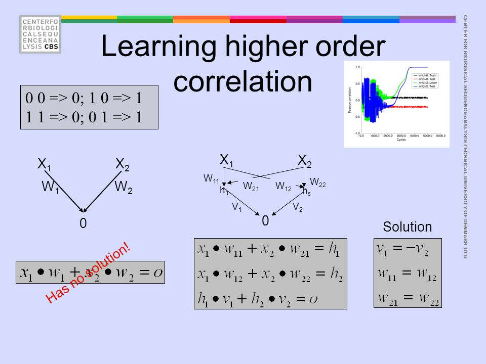 CENTER FOR BIOLOGICAL SEQUENCE ANALYSISTECHNICAL UNIVERSITY OF DENMARK DTU Learning higher order correlation 0 0 => 0; 1 0 => 1 1 1 => 0; 0 1 => 1 X1X
