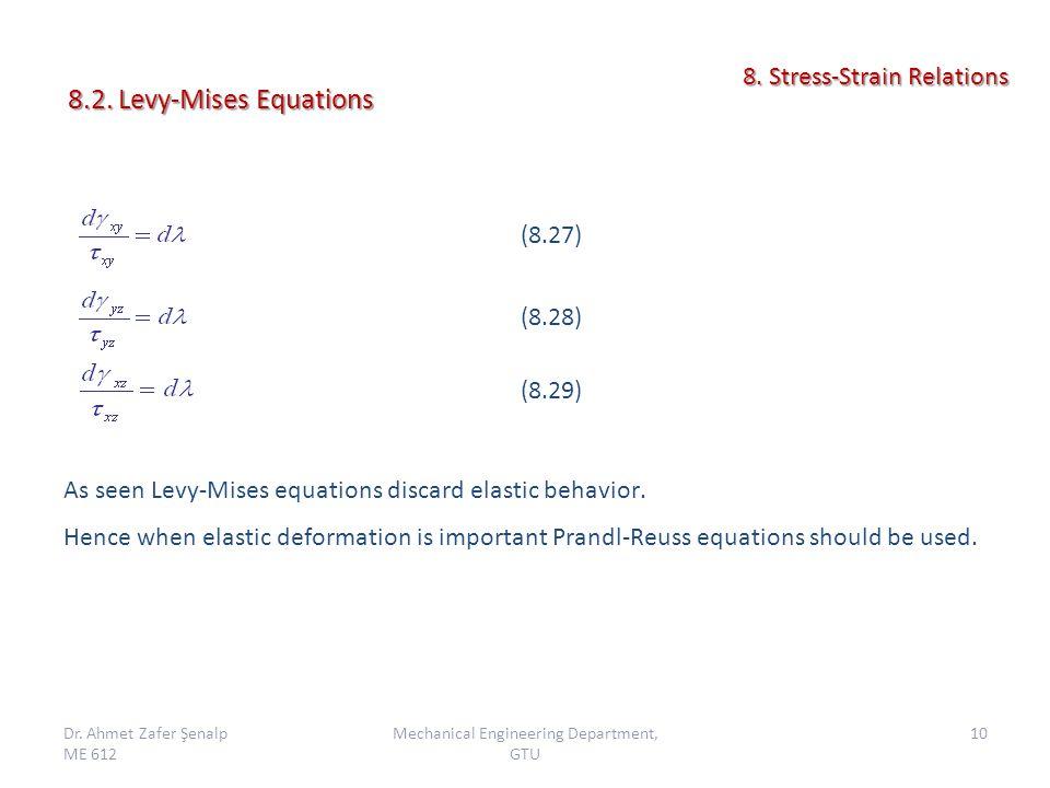 As seen Levy-Mises equations discard elastic behavior. Hence when elastic deformation is important Prandl-Reuss equations should be used. Dr. Ahmet Za