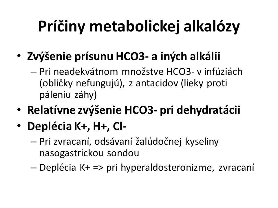 Príčiny metabolickej alkalózy Zvýšenie prísunu HCO3- a iných alkálii – Pri neadekvátnom množstve HCO3- v infúziách (obličky nefungujú), z antacidov (l