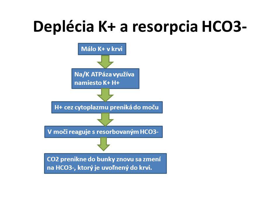 Deplécia K+ a resorpcia HCO3- Málo K+ v krvi Na/K ATPáza využíva namiesto K+ H+ H+ cez cytoplazmu preniká do moču V moči reaguje s resorbovaným HCO3-
