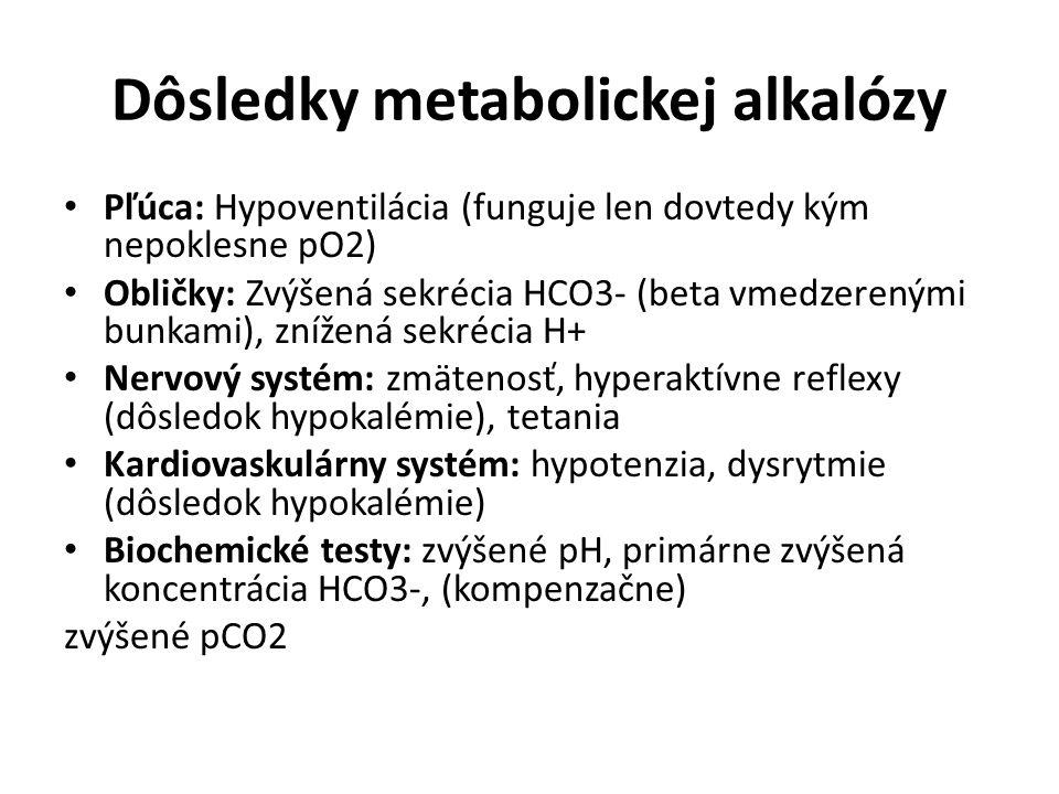 Dôsledky metabolickej alkalózy Pľúca: Hypoventilácia (funguje len dovtedy kým nepoklesne pO2) Obličky: Zvýšená sekrécia HCO3- (beta vmedzerenými bunka