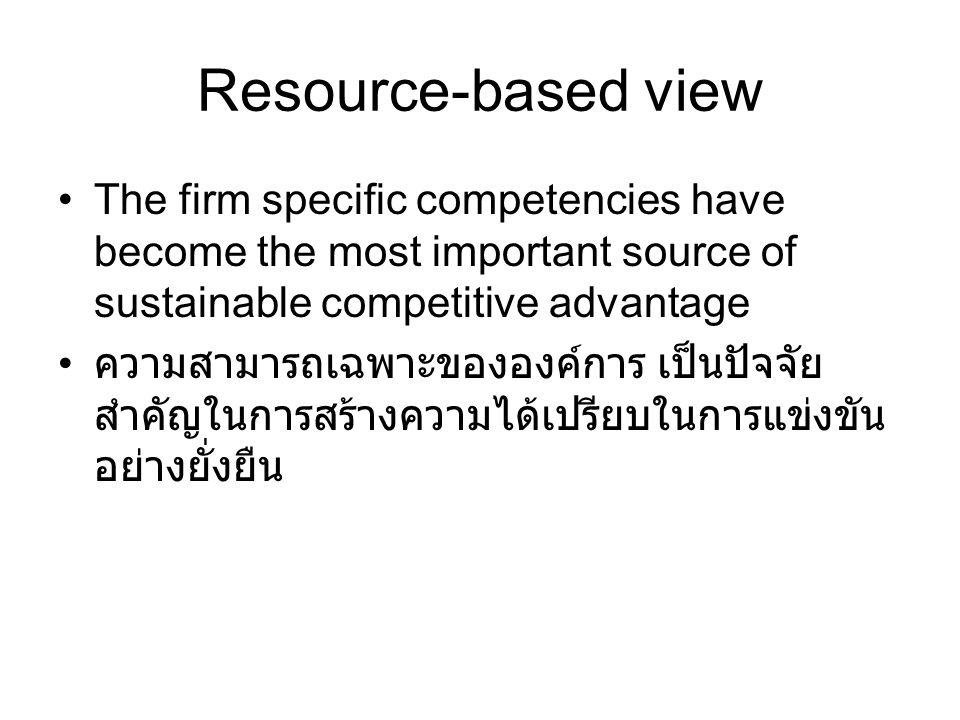 Resource-based view The firm specific competencies have become the most important source of sustainable competitive advantage ความสามารถเฉพาะขององค์การ เป็นปัจจัย สำคัญในการสร้างความได้เปรียบในการแข่งขัน อย่างยั่งยืน