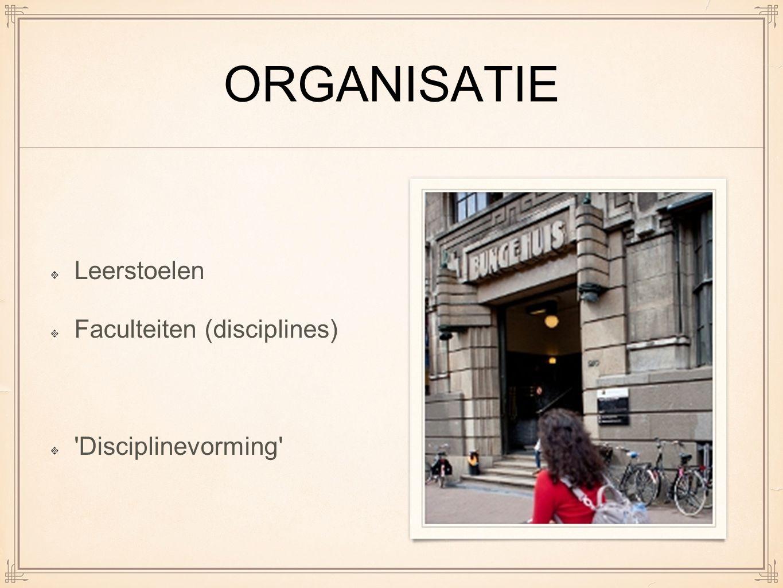 ORGANISATIE Leerstoelen Faculteiten (disciplines) 'Disciplinevorming'