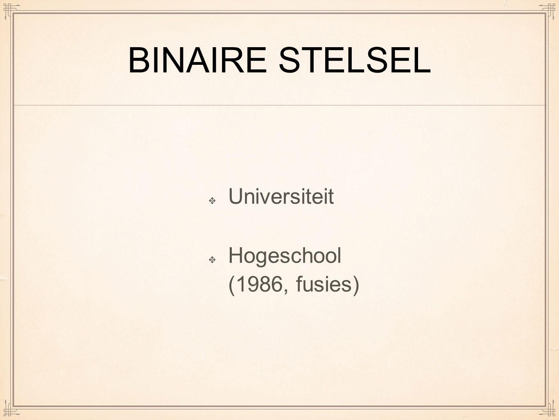 BINAIRE STELSEL Universiteit Hogeschool (1986, fusies)