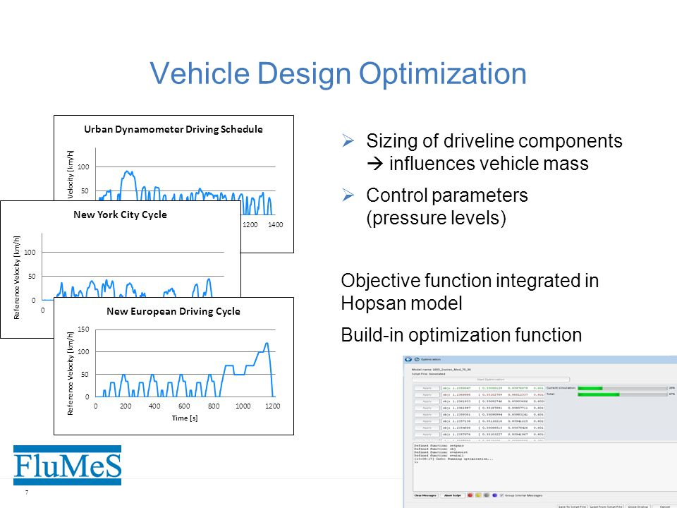 Vehicle Design Optimization  Sizing of driveline components  influences vehicle mass  Control parameters (pressure levels) Objective function integrated in Hopsan model Build-in optimization function 7
