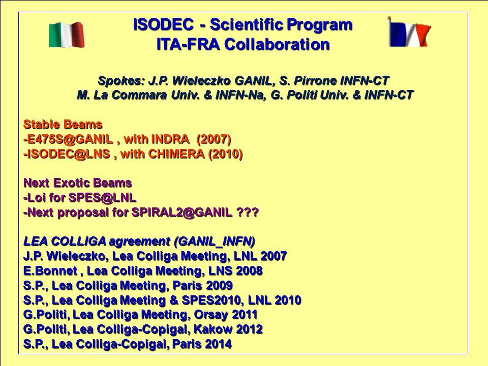 ISODEC - Scientific Program ITA-FRA Collaboration Spokes: J.P.