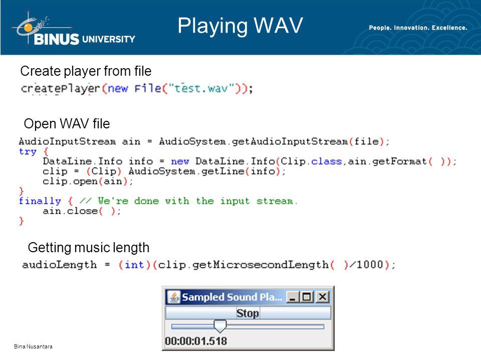 Playing WAV Bina Nusantara Create player from file Open WAV file Getting music length